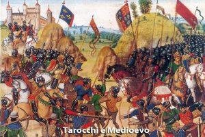 Le carte dei tarocchi affondano le loro radici nella storia: molteplici sono i riferimenti al Medioevo. Nell'immagine è rappresentata la Battaglia di Crécy, opera di Froissart.
